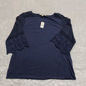 NEW Ann Taylor Loft 3/4 Length Sleeve Blue Tee